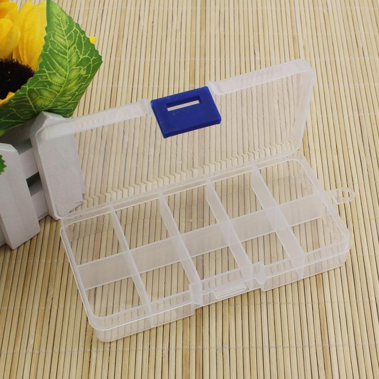 Wholesale-Practical Adjustable Plastic 10 Compartment Storage Box Case Bead Rings Jewelry Display Organizer Container ToolBox 65*130*21mm