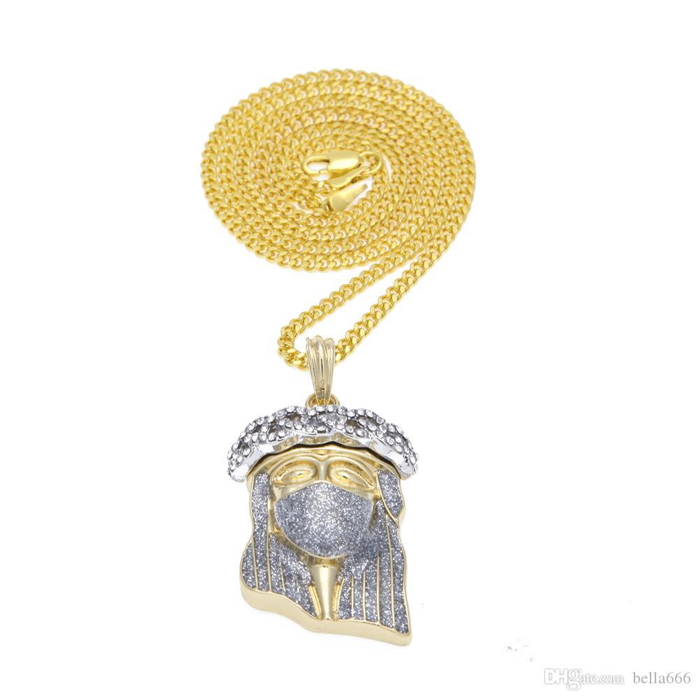 5mm Chain Hip-Hop Gold Plated Rhinestone Masked Jesus Star Mode Alloy Jesus Face Pendant Copper Chain Men Women Ninja Necklace