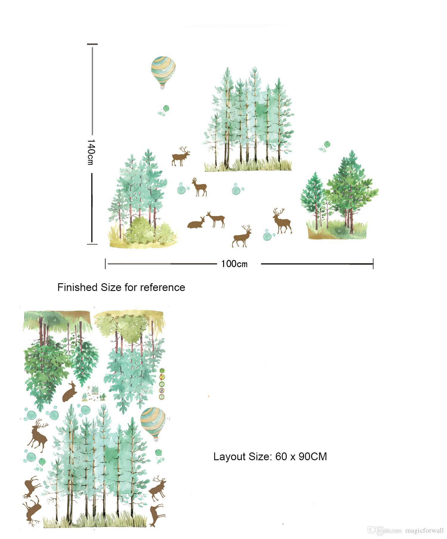 Sika Deer in the Woods Wall Stickers Home Decor Wall Border Decal Forest Deer Hot-air Balloon Wallpaper Poster Art Decorative Wall Applique