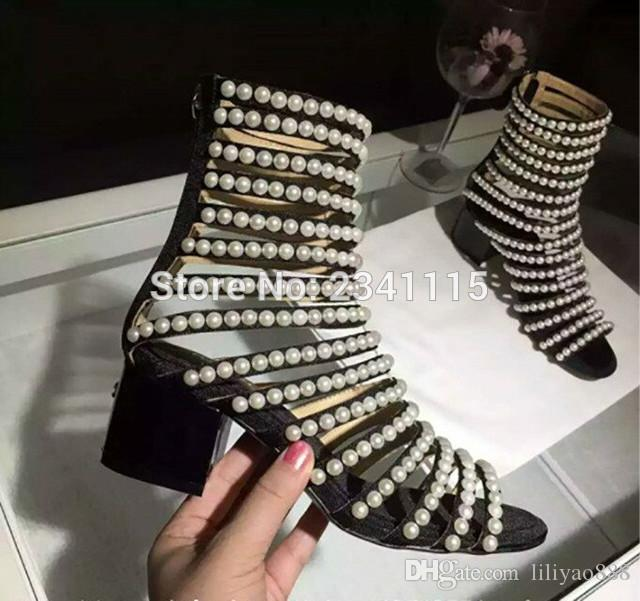 Luxury Designer Sandals Women High Heel Cut Out Open Toe Summer Shoes Ankle Boots Flashion Pearls Studded Gladiator Sandals