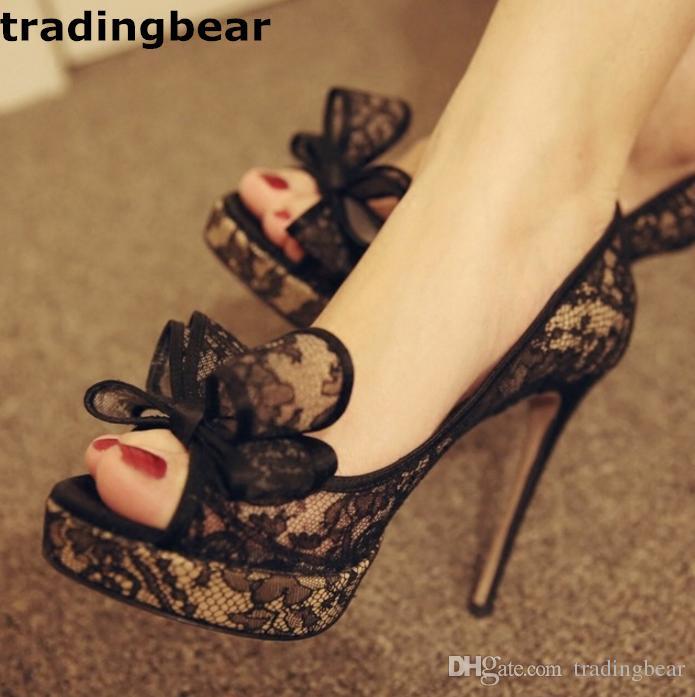 Fashion Ladies Pumps Elegant Bowtie black Lace High Heels Peep Toe Designer Shoes Size 34 to 39