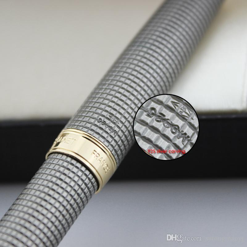 925 الفضة رولربال أقلام جودة عالية القرطاسية المدرسية التجزئة الليزر الكرة الأقلام التجارة الخارجية القلم هدية caneta 3d القلم