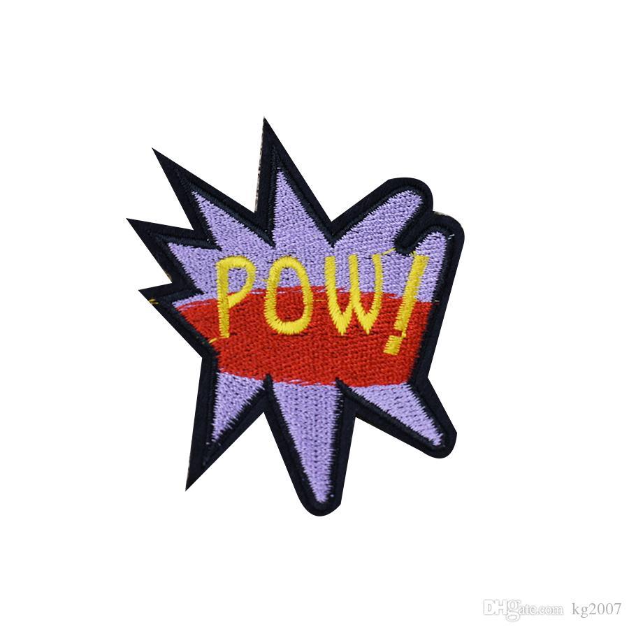 10PCS Slang POW Aufnäher für Kleidung Taschen Eisen-on Transfer Applikationen Patch für Garment DIY nähen auf Stickerei-Abzeichen