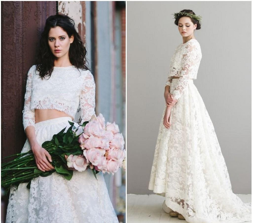 Discount Modern Two Pieces Lace Bohemian A Line Wedding Dresses ...