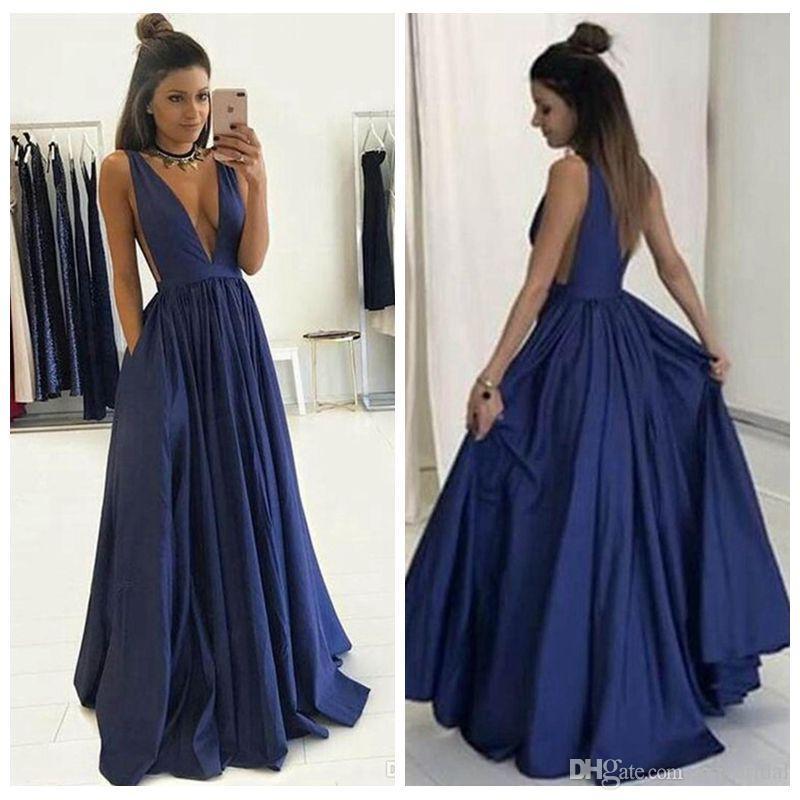 Compre 2017 Elegante Vestido De Fiesta Una Línea Vestidos De Noche Formales Estilo Simple Profunda V Cuello Mancha Formales Vestidos Largos Fiesta De