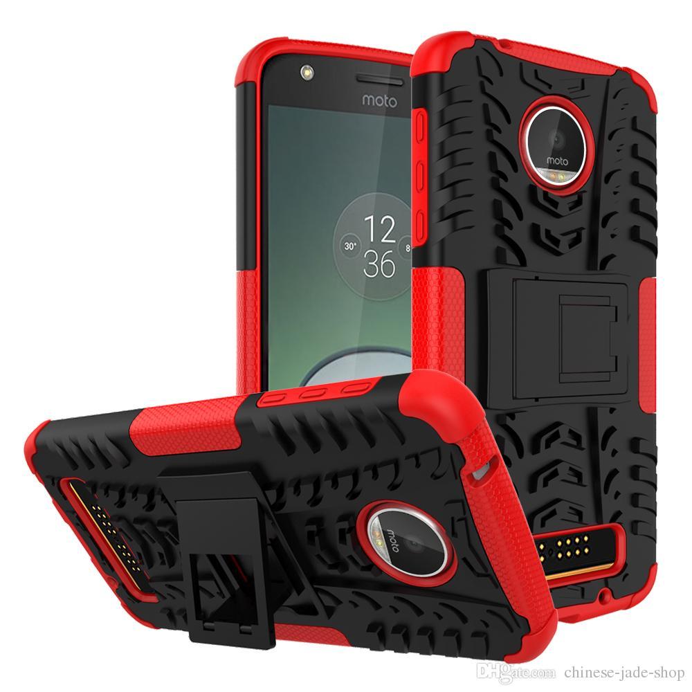 Hybrid Kickstand Wirkung Robuste Hochleistungs-TPU + PC-Shock-Beweishülle für Motorola Moto G8 Power Lite G Power E7 50pcs / lot