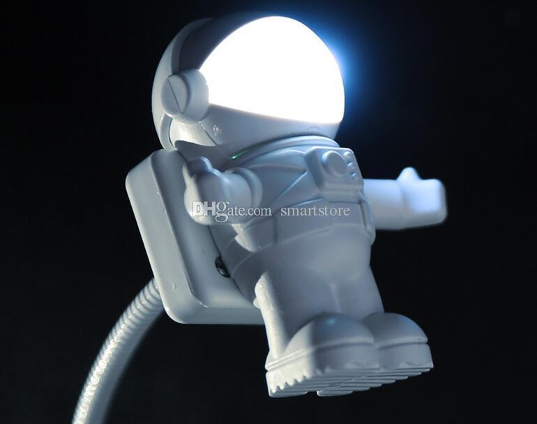 50pcs USB LED Light Lamp Flessibile Neck Spaceman Astronauta Led Light Reading Nightlight Nootbook Computer portatile 0001