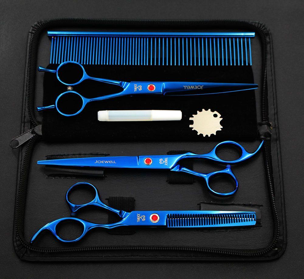 7,0 pouces Pet Ciseaux Chien Toilettage Ciseaux Ensemble Droite Amincissement Ciseaux Ciseaux Sharp Edge Animaux Outils De Coupe De Cheveux Kit