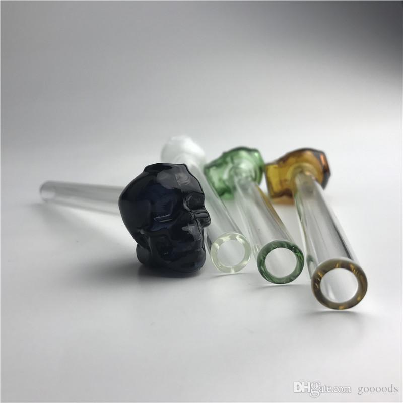 Bruciatori di olio di vetro di pyrex spesso 5,5 pollici stile cranio tubi a mano economici con tubo di acqua colorato bianco nero verde blu