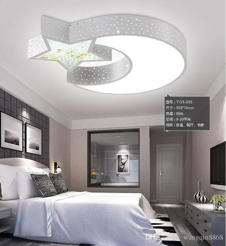 Großhandel Kinder Lampe Star Moon Led Deckenleuchte Kreative Persönlichkeit Jungen Mädchen Schlafzimmer Decke Romantische Kristall Led