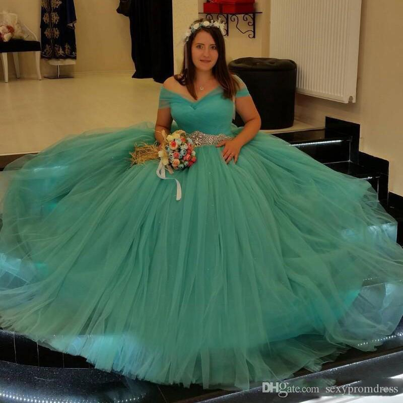 Discount Turquoise Green Wedding Dresses Plus Size Off Shoulder Crystals  Beaded Waist Bridal Gowns Tulle A Line Simple Wedding Dress 2018 Short ...