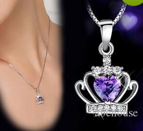 Neue Ankunfts-925 Sterling Silber Schmuck österreichischen Kristall Crown Hochzeit Anhänger Lila / Silber Wasser Welle Halskette 10pcs geben Verschiffen frei