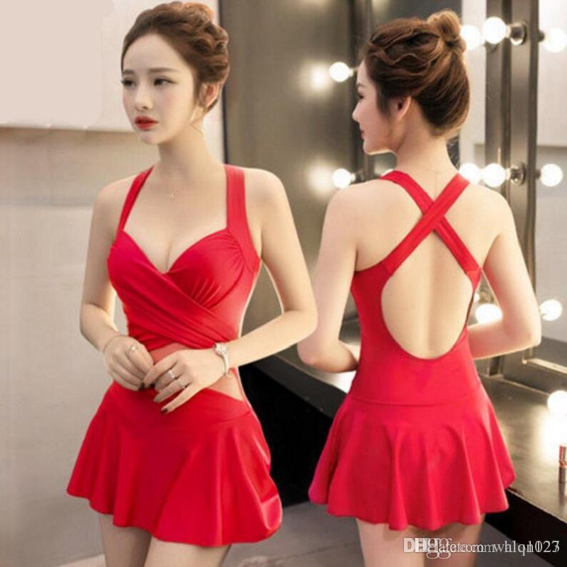 2017 новый сексуальный разделительный корейский стиль сладкие девушки купальник чистый цвет купальники консервативная пляжная одежда для женщин бесплатная доставка