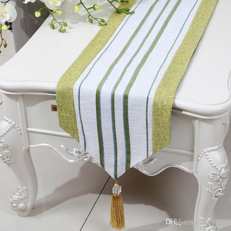 Stripe Lengthen Patchwork Table Runner Linen Classic High End Modern