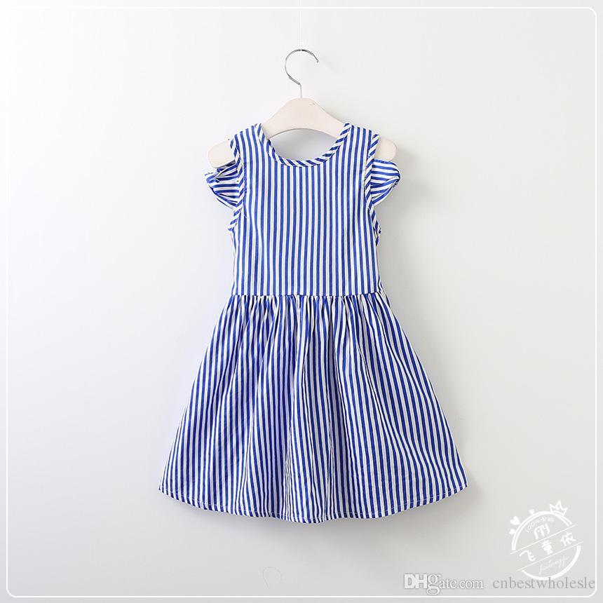 Compre Vestidos Rayados De Las Muchachas De Los Bebés Vestido De Los ...