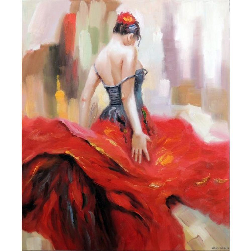 피겨 그림 플라멩코 댄서 스페인 집시 브라이트 레드 드레스 갈색 머리 꽃 헤어 오일 페인팅 스페인어 아트 수공예 여자 오이
