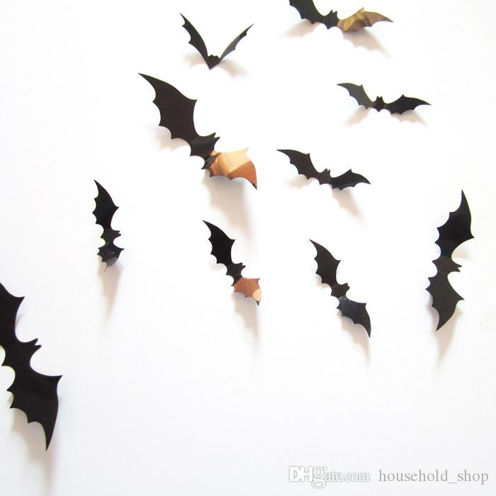 Bat Wall Stickers Halloween Decorations 3D Tridimensional 12pcs/Set Mural Festival Home Decor For Chrildren Room Pumpkin Ghost Free Shipping