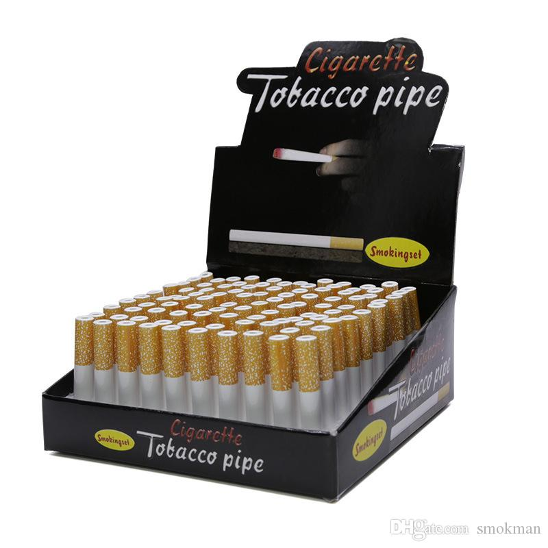 Disposable pipes sharpstone smoking pipes tobacco cigarette shape metal aluminium alloy 55/78mm length 100pc/box 8mm diameter bat metal pipe