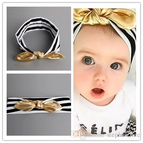 2020 neue Baby-schwarz-weiß gestreifte Stirnband mit goldfarbenen Kaninchenohren Haarbänder Säugling Fotografie Props Kopfschmuck für Kinder Kopfbedeckung 30pcs / lot