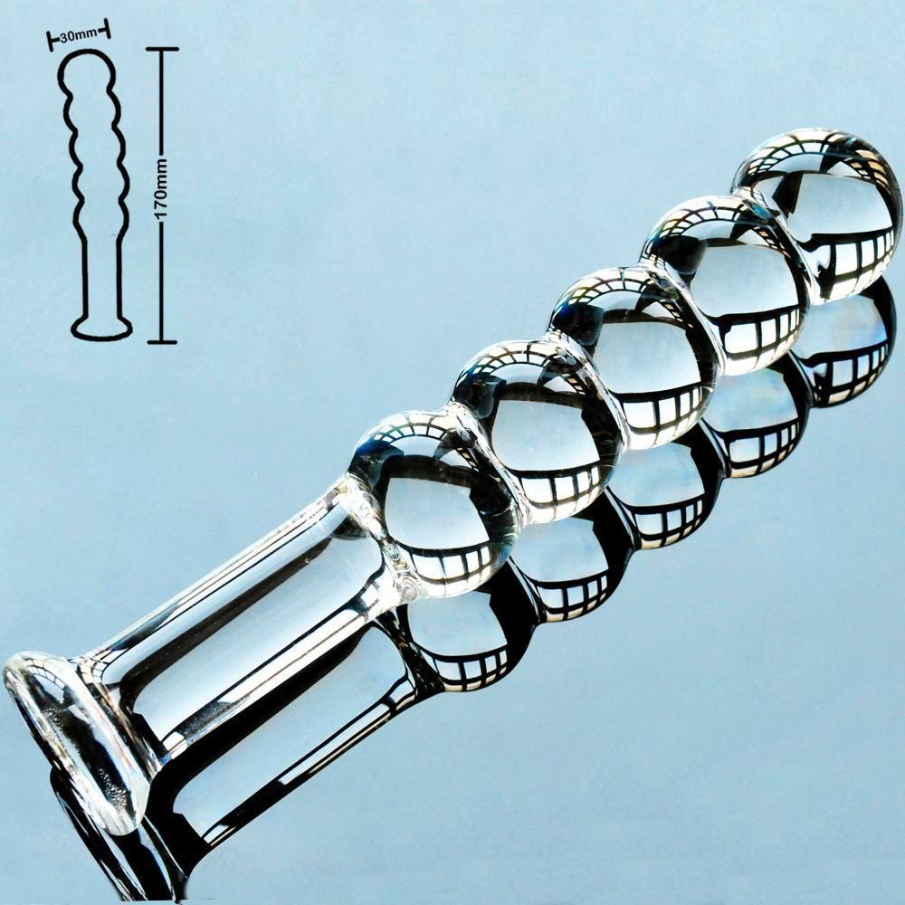 5 perle vetro pyrex falso pene di cristallo artificiale maschio cazzo anale dildo butt plug masturbatore giocattoli adulti del sesso per le donne gay uomini 17308