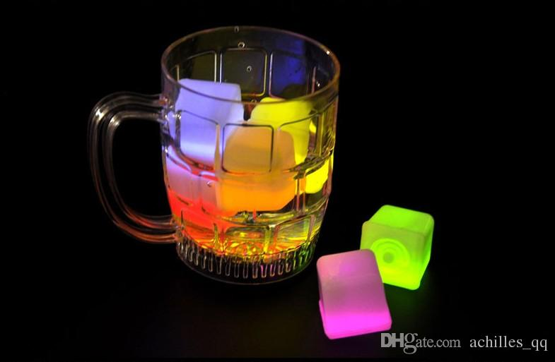 12Pcs/lot Water Sensor Sparkling LED Ice Cubes Luminous Multi Color Glowing Drinkable Decor for Event Party Wedding