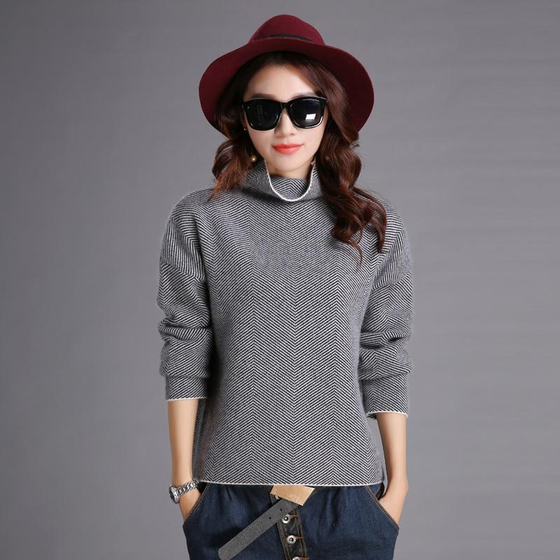 Atacado-Fashion Turtleneck Collar Pullover Pure Mink Cashmere solto Pull Femme Knitting camisolas Knitwear