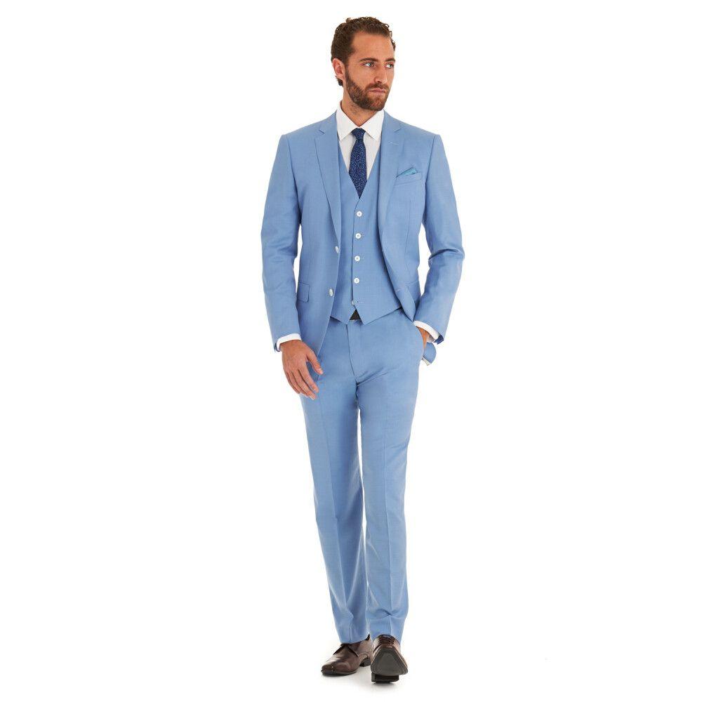 Yeni Varış Romantik Açık mavi adam suit Düğün takım elbise Smokin erkekler suit son tasarımlar balo takımları (Ceket + Pantolon + Yelek)