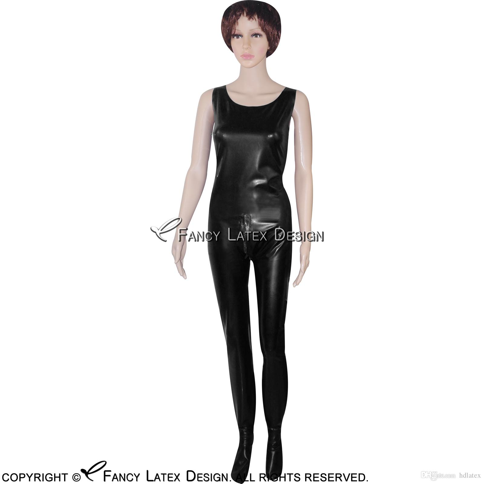 Black Sexy Sleeveless Latex Catsuit With Crotch Zipper Bondage Rubber Bodysuit Fetish Zentai Plus size Hot Sales LTY-0015