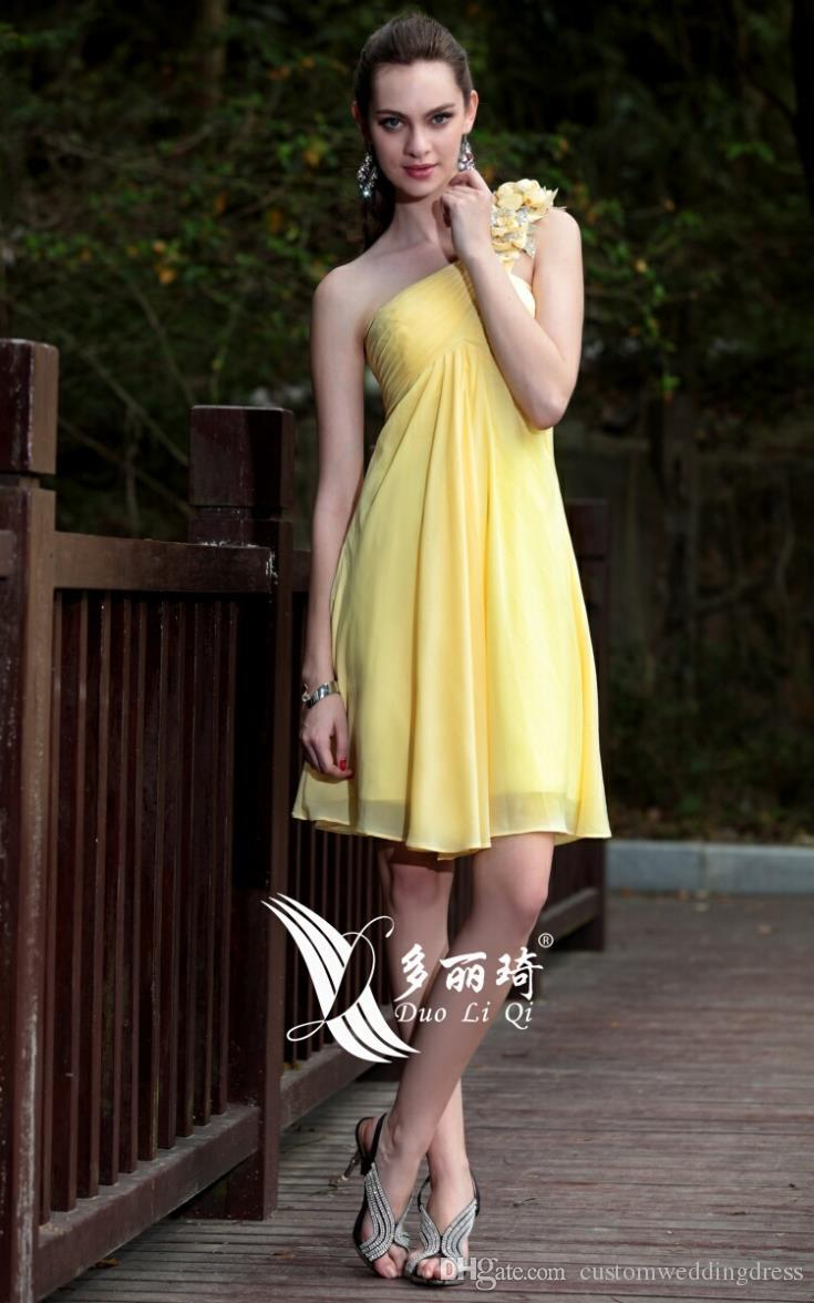 free shipping 2018 yellow one shoulder flower chiffon tube top elegant cape swifter banquet dress short Bridesmaid Dresses