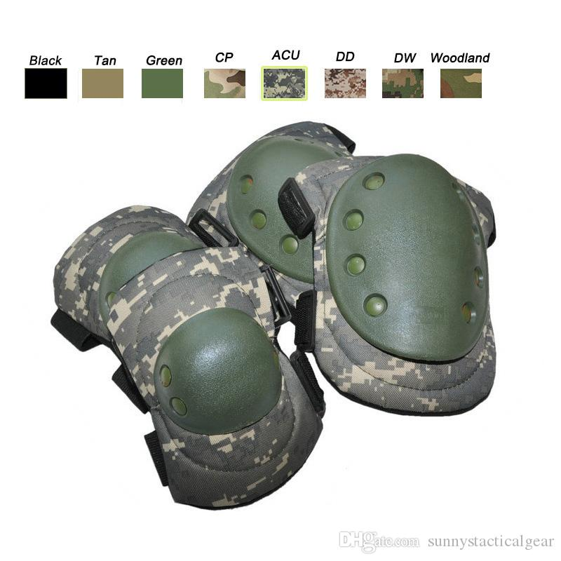 Tactical Knee Pads Protective Military Army Airsoft Paintball Woodland Camo