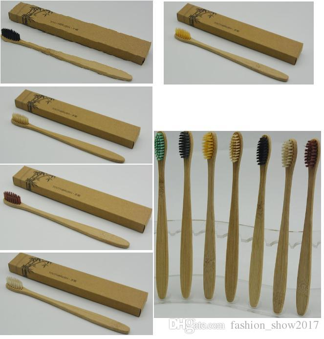 Yeni Moda Bambu Diş Fırçası Taç Çevre Diş Fırçası Bambu Diş Fırçası Otel için Yumuşak Naylon Capitellum Bambu Diş Fırçaları