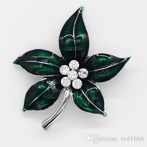Moda all'ingrosso Fogliame spilla strass spilla foglia pin spille regalo gioielli C102539