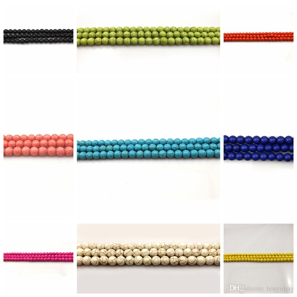 Cuentas sueltas de la turquesa 8m m para la joyería DIY 11 diversos colores paquete de 250pcs