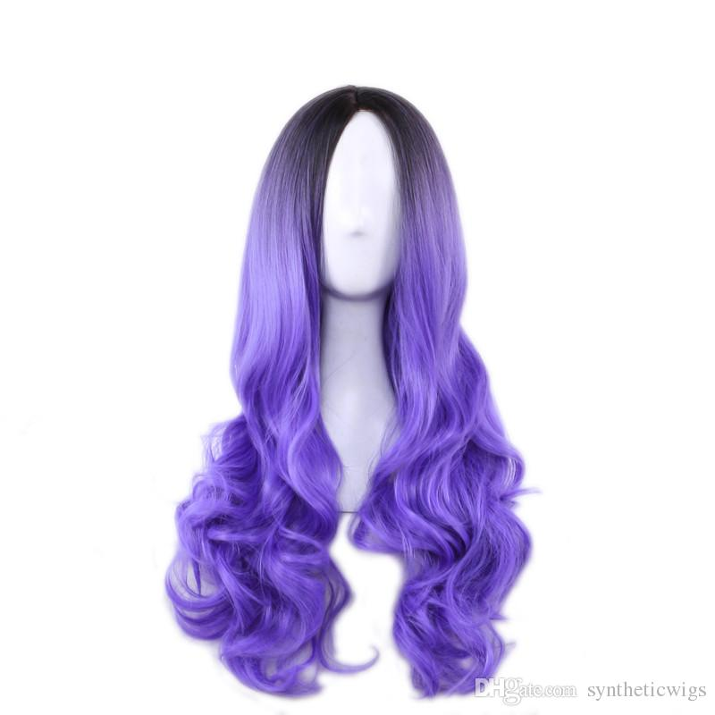 WoodFestival long wavy wig gradient dark root synthetic wig ombre grey pink green purple women hair wigs heat resistant fiber