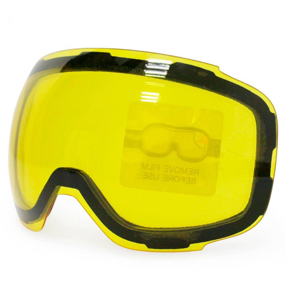 Wholesale- Original Yellow Graced Magnetic Lens for ski goggles GOG-2181 anti-fog UV400 spherical ski glasses snow goggles Night Skiing