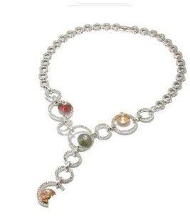 Diamante colorido pcs pingente cinza cadeia r colar da senhora (xysppfh) gdfgd