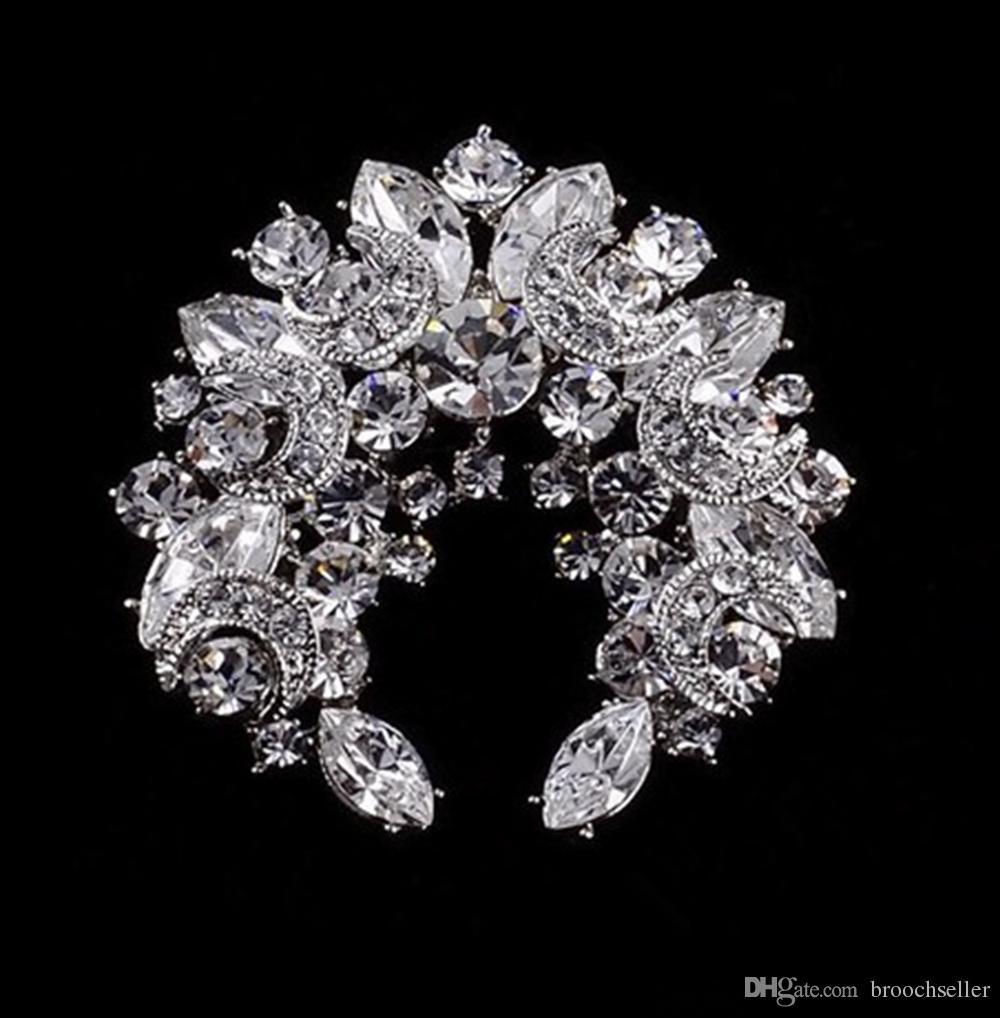 Sparkly-Clear Rhinestone Crystal Moon en Star Wreath Diamante Party Broche