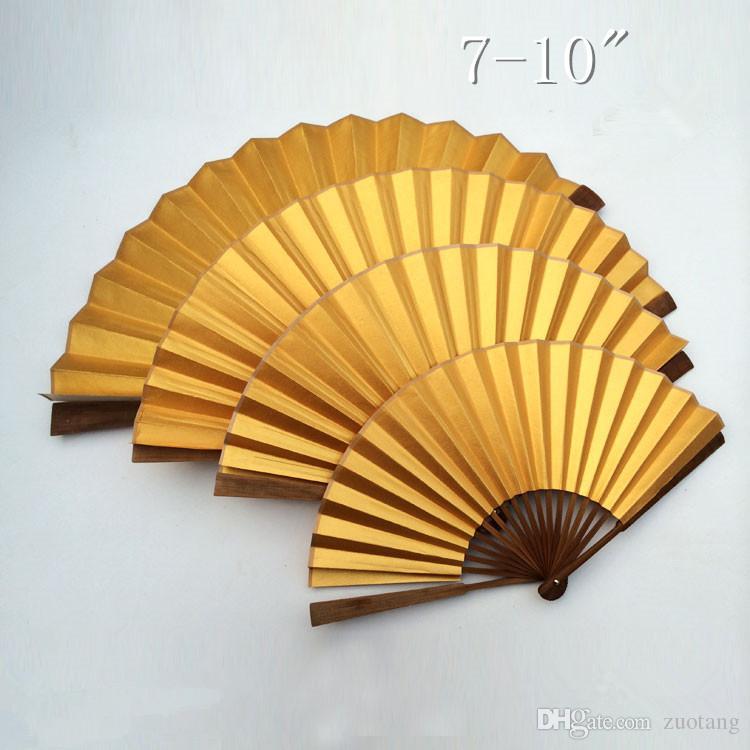 """Fãs Plain cor do ouro DIY mão ofícios presente 7"""" 8"""" 9 '10' Adulto Caligrafia Pintura de Belas Artes arroz Programas papel chinês Folding Fan Bamboo"""