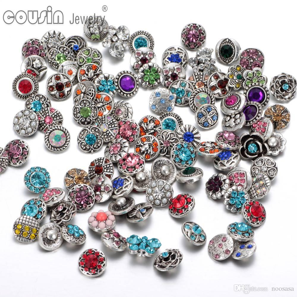 100pcs/lot Mixed snap button charm High quality Rhinestone 12mm Metal Snap Button For Interchangeable DIY Ginger Snaps Jewelry