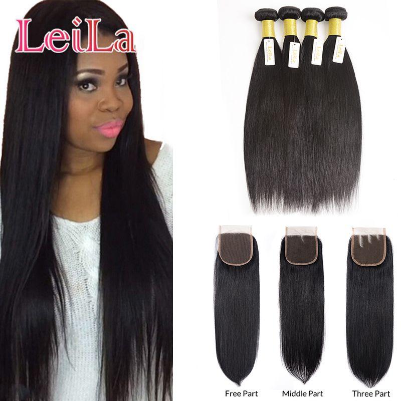 Индийские девственные прямые волосы для 4 Пучков с закрытием шнурка 4X4 шелковистые необработанные человеческие волосы 5 шт. / лот для полных волос