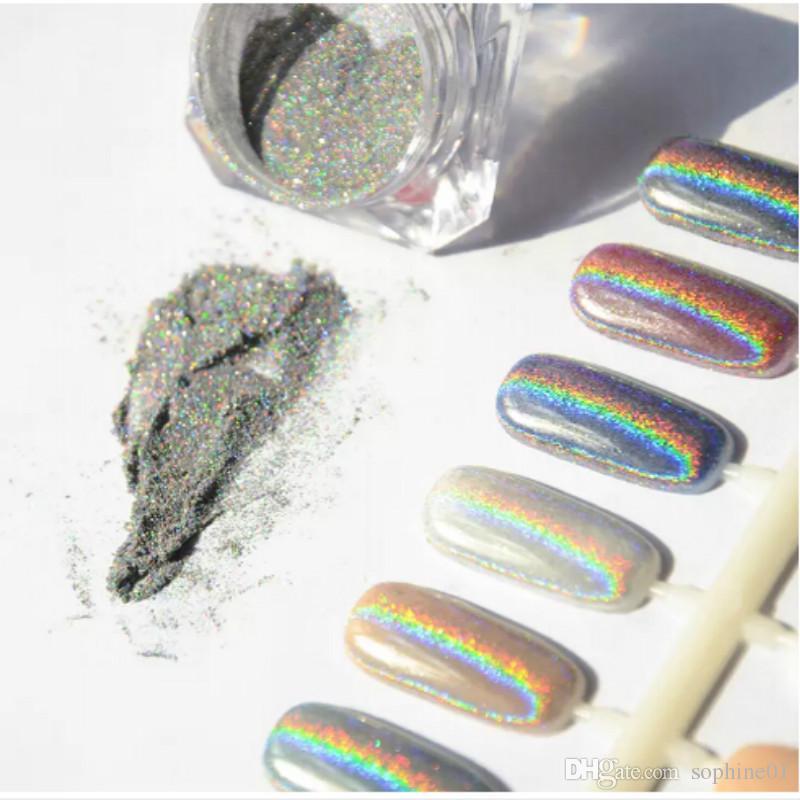 1g Laser Silber Holographische Nägel Glitzert DIY Nail art Pailletten Chrom Pigment Staub Shiny Magic Laser Spiegel Nägel