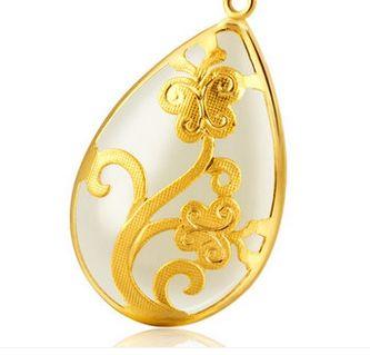 Золото инкрустированные нефрит белый тип воды пчелы цветок цветущие цветы очарование ожерелье