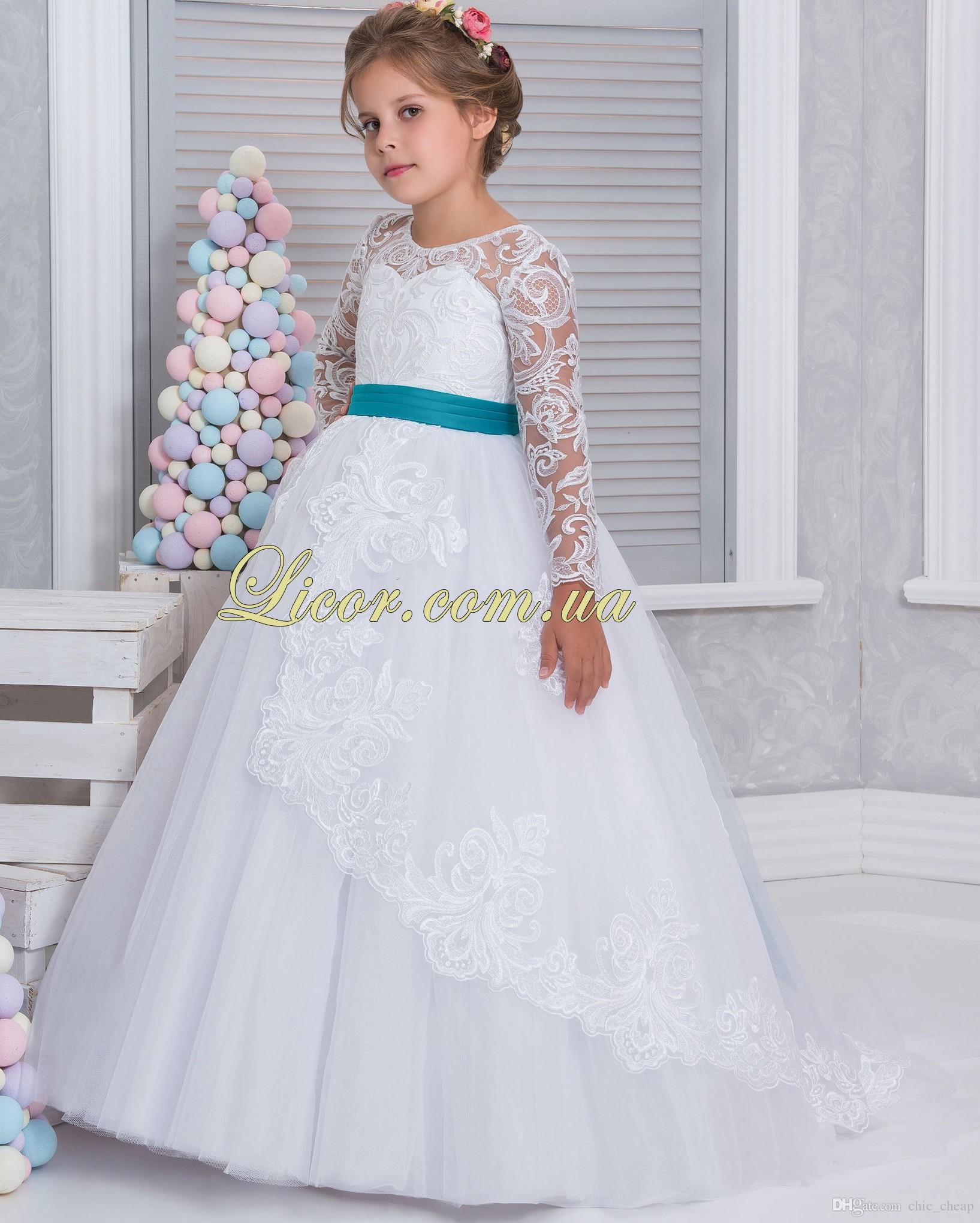 Cheap white 2017 arabic flower girl dresses lace long sleeves ball white 2017 arabic flower girl dresses lace long sleeves ball gown child wedding dresses vintage little ombrellifo Gallery