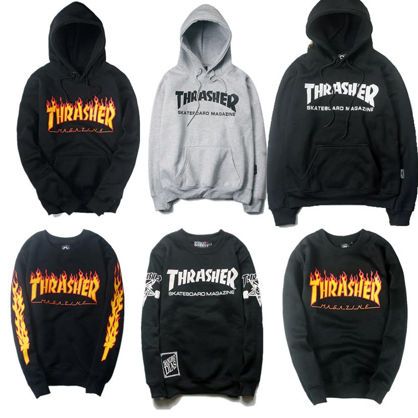 2c418909 Wholesale-Winter Thrasher Hoodies Men Women High Quality Sweatshirt Hip Hop  Magazine Blaze Trasher Tracksuit Thrasher Skateboard Hoodie