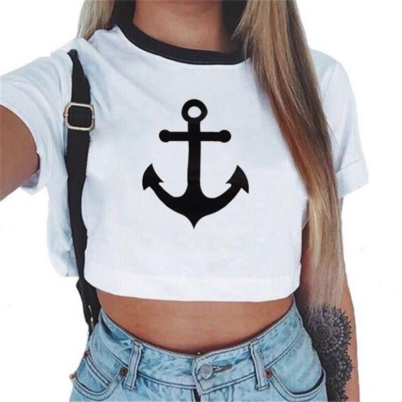 All'ingrosso- KEEVICI Donna Estate Crop Top donne 2017 T-shirt a maniche corte in cotone Tees casual Carino T-shirt Top corti per le donne