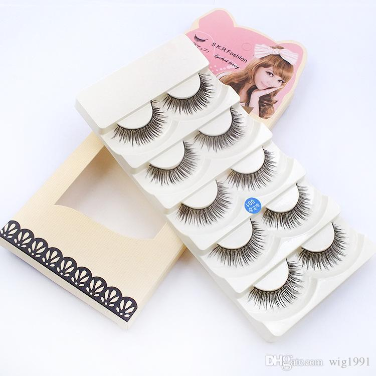 Soft Long Makeup Cross Thick False Eyelashes with Box Package 5 Pairs Nautral 3D Handmade Lashes with Retail Box High Quality