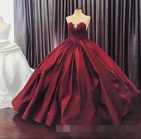 2019 Bordo Quinceanera elbise Balo Sevgiliye Lace Up Kat Uzunluk Masquerade Elbiseler Saten Aplikler Vintage Uzun Balo Abiye