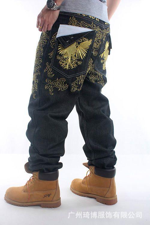 couleur gros primaire pantalon droit fleurs brodées planche à roulettes taille de bière blonde de la rue hommes de la mode hip-hop Style Jeans loose hommes