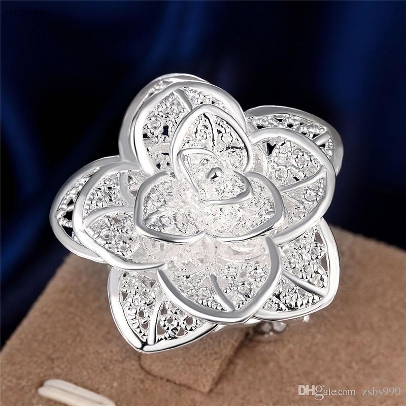 Heta erbjudanden 925 Sterling Silver Plated Flower Charm Finger Ringar Kvinnor Fashion Party Smycken Bröllopsgåvor Gratis frakt