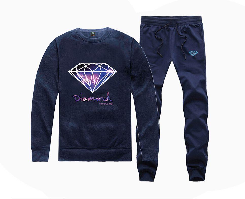 H885045 Hot-sale Diamond Supply Sweatshirts +PANTS suit for Men and Women Fleece Lined Hip Hop Crewneck hoodies S-5XL